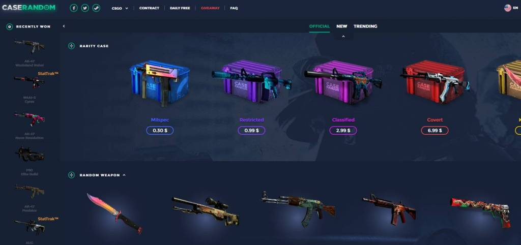 Caserandom - open cases CSGO - Opening Case cs go with the best skins
